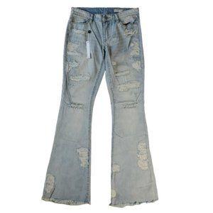 Blank NYC Cosmic Flare Leg Jeans Sz 27 Distressed